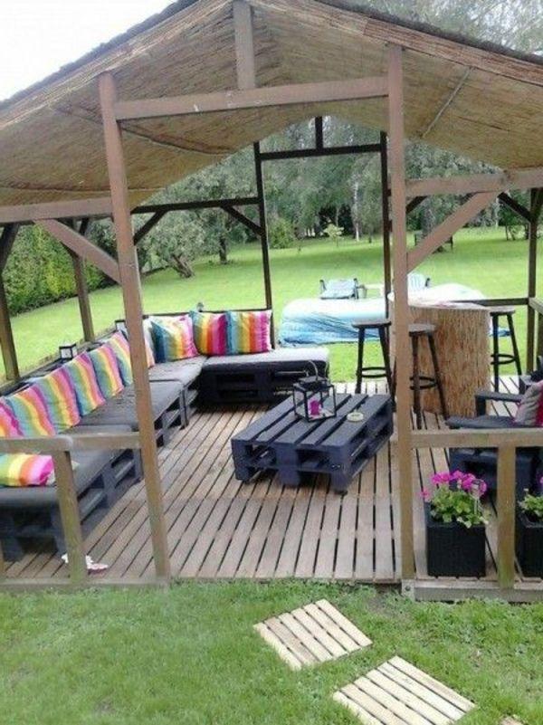 Garten Pavillon Holz Gestreifte Kissen