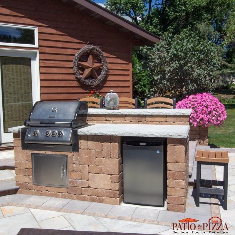 Necessories 8 Grand Island Bar Grill Refrigerator Opening Outdoor Living Kits Diy Outdoor Kitchen Brick Bbq