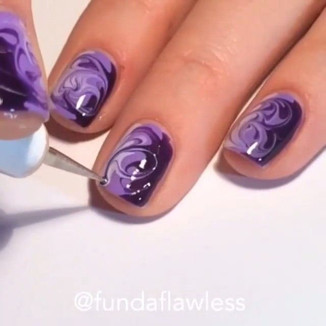 Purple Marble by @fundaflawless | Nail Ideas | Pinterest | Marbles ...