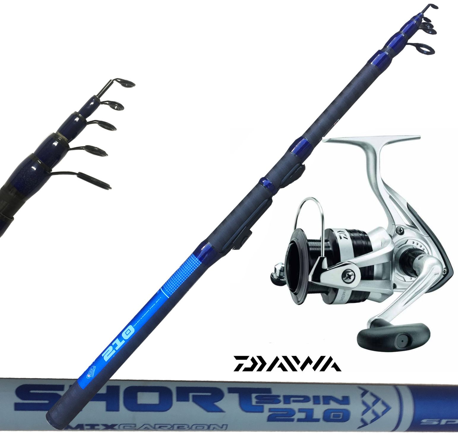 Kit Spinning Canna Shorty 210  Mulinello Daiwa Sweepfire 2000 - EUR 39.00