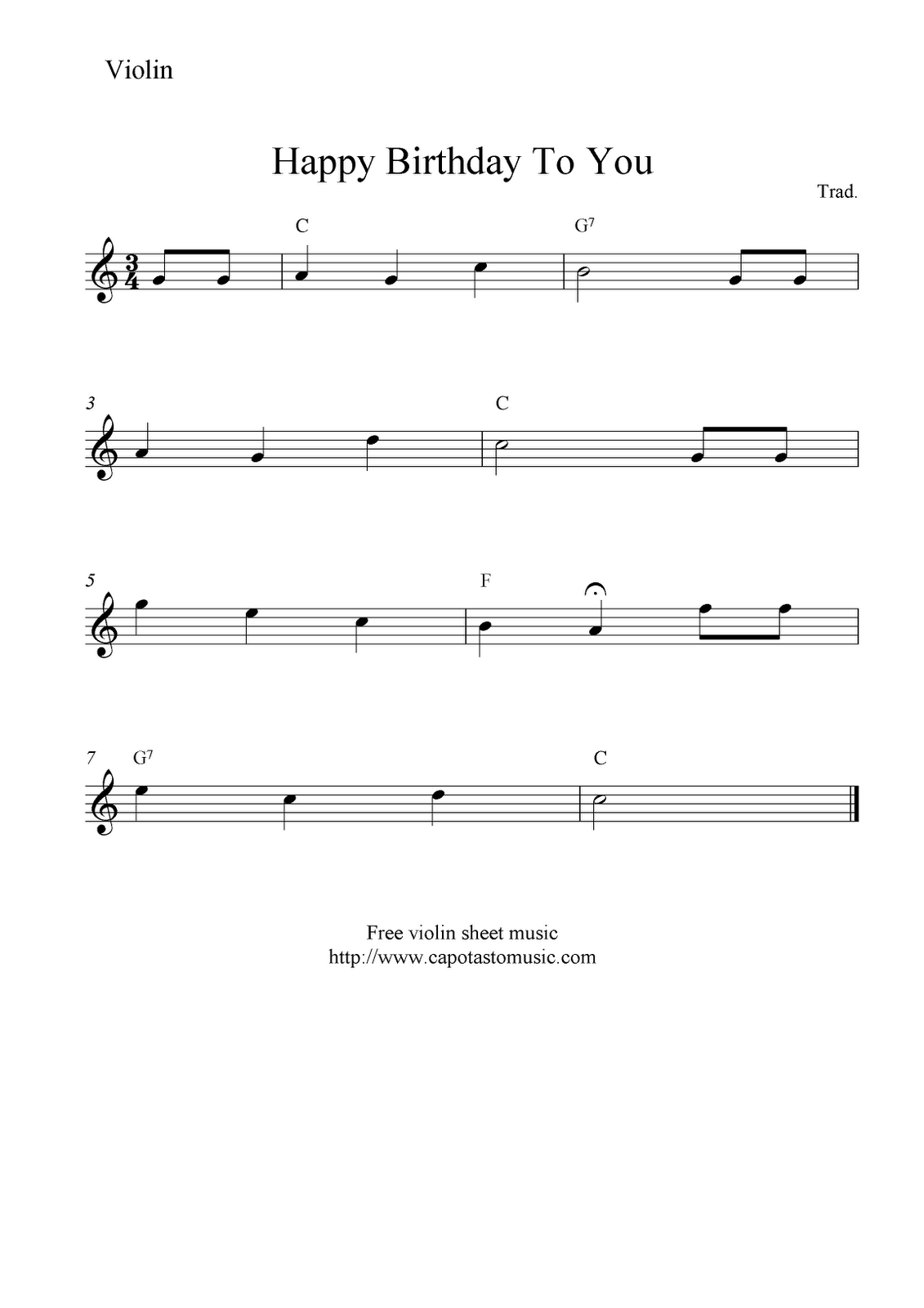 Free Sheet Music Scores Happy Birthday To You, free
