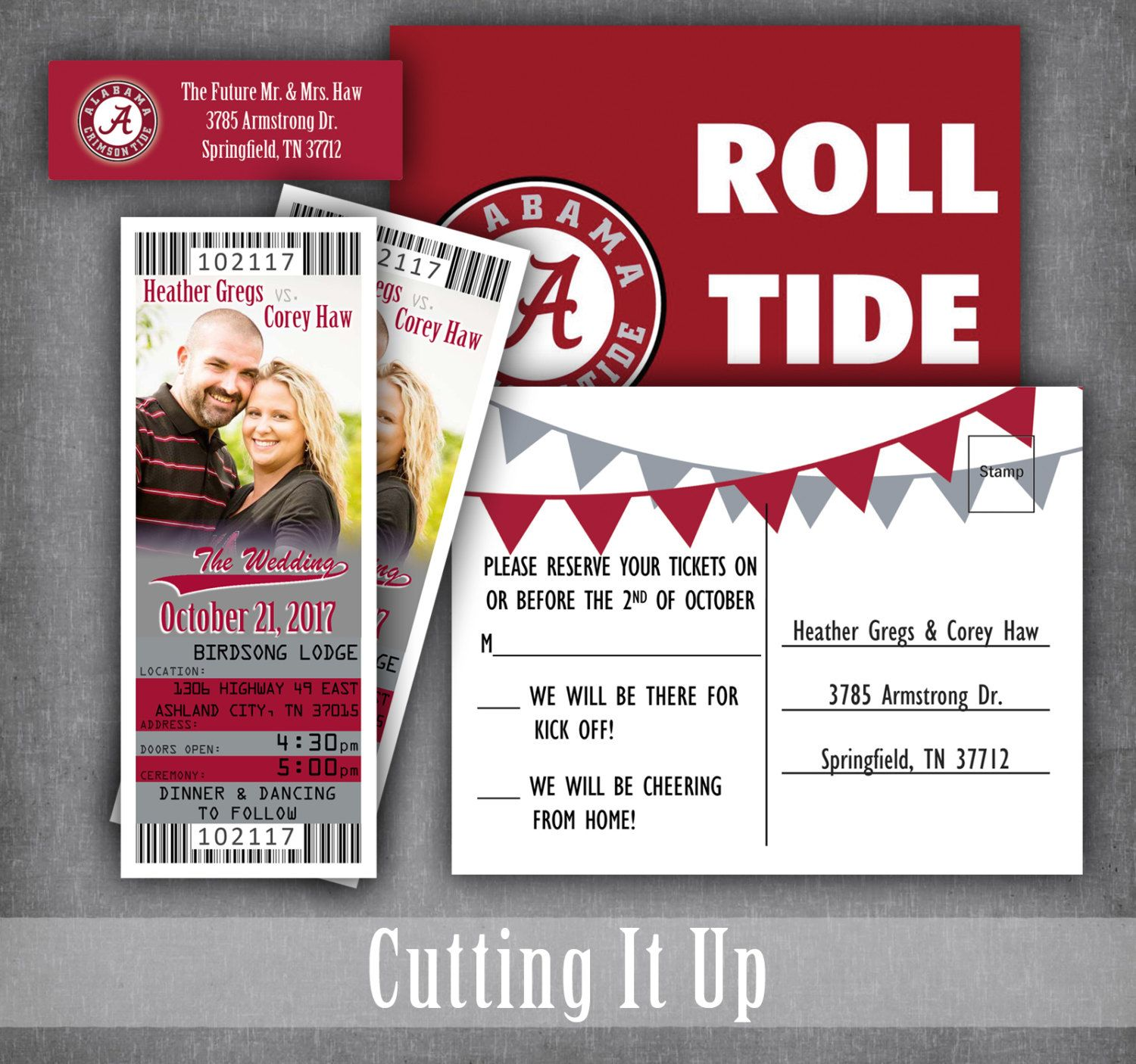 Alabama Football Wedding Ticket Invitations, Sports Theme Invitation ...