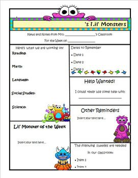 Monster Theme Newsletter Template  Word  Newsletter Templates