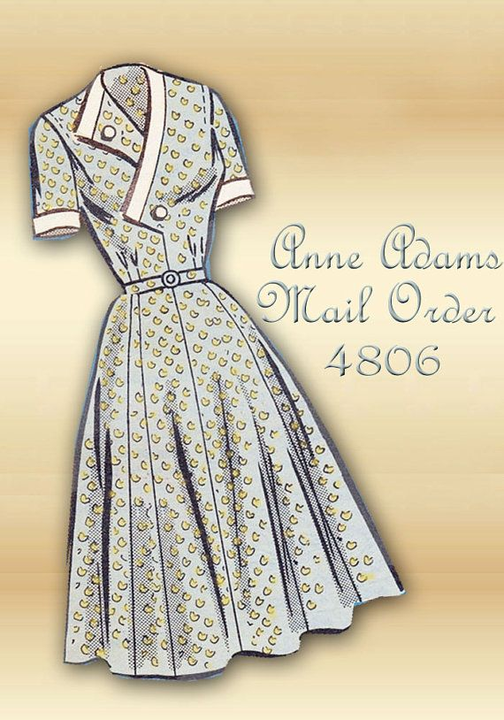 Anne Adams Mail Order 4806 Vintage 1950s Dress Pattern Surplice ...