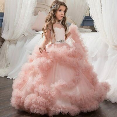 Stunning V Back Luxury Pageant Tulle Ball Gowns For Girls 2 13 Year Old Pink Ebay In 2020 Girls Ball Gown Dresses Girls Ball Gown Princess Dress Kids