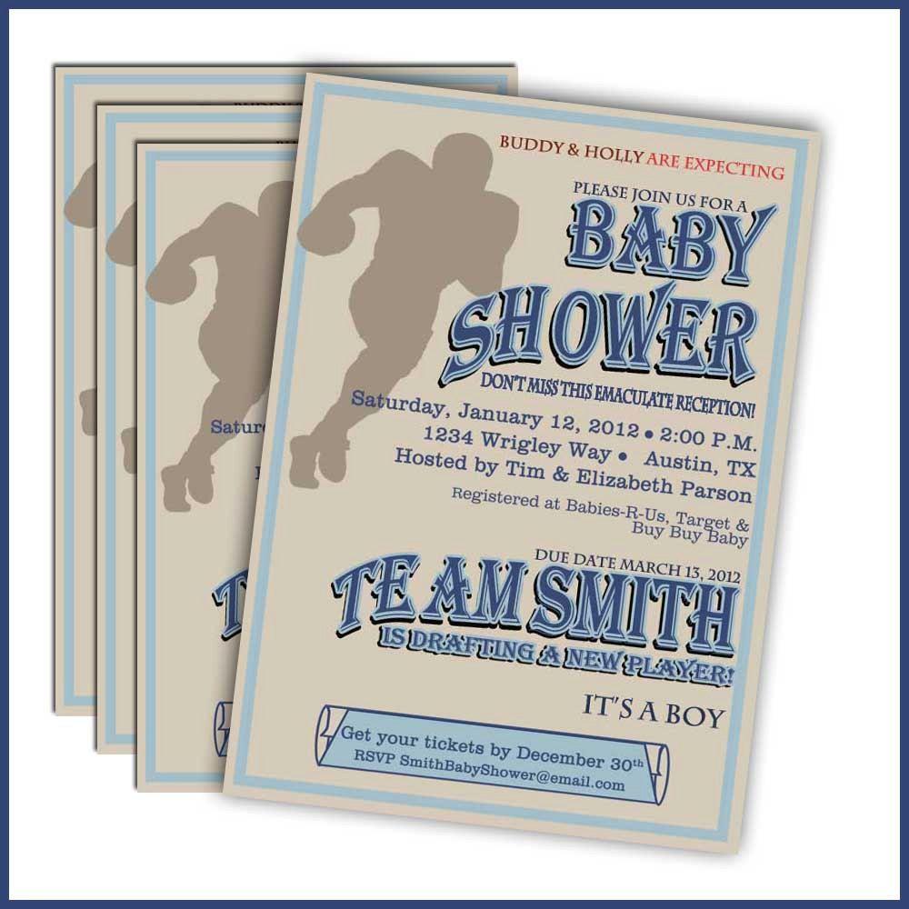Football Baby Shower Invitations: 244 - Sports Baby Shower Baby Boy ...