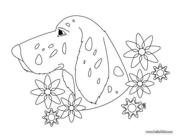 Beautiful Dog Head With Flowers Coloring Page Nice Dog Drawing