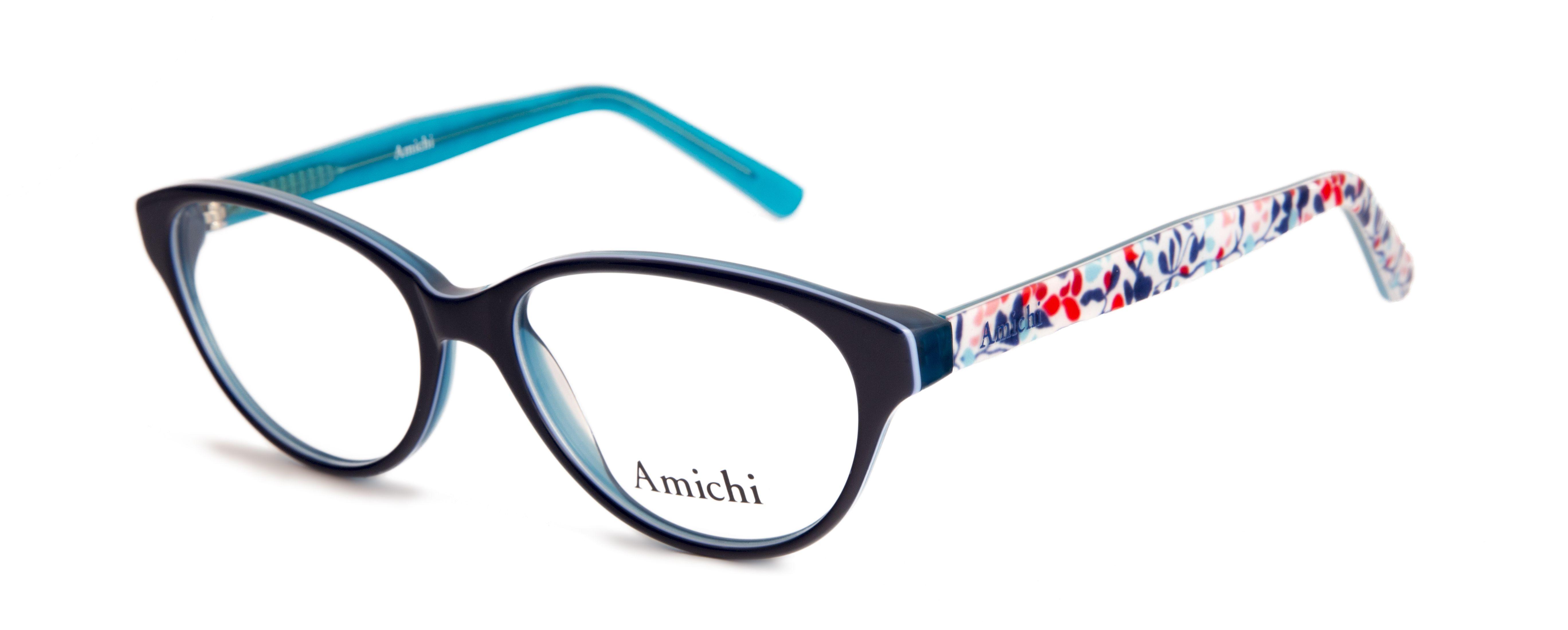 634291829 Gafas Amichi para Opticalia. Montura de pasta en color negro con varillas  multicolor.