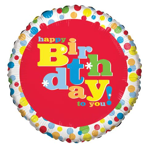 Whimsical Happy Birthday Foil Balloons With Attached Ribbons 18 In