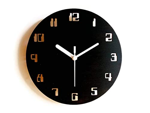 Amazon Com 11 Geek Small Wooden Quiet Wall Clock With Digital Numbers Of Vintage Computers For Living Room In Many Colors In 2020 Clock Wall Clock Wall Clock Numbers