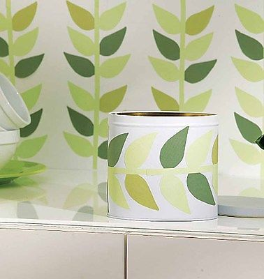 Green Leaf Retro Look Leaves Decor 25 Wallies Wallpaper Cutouts Decals Stickers