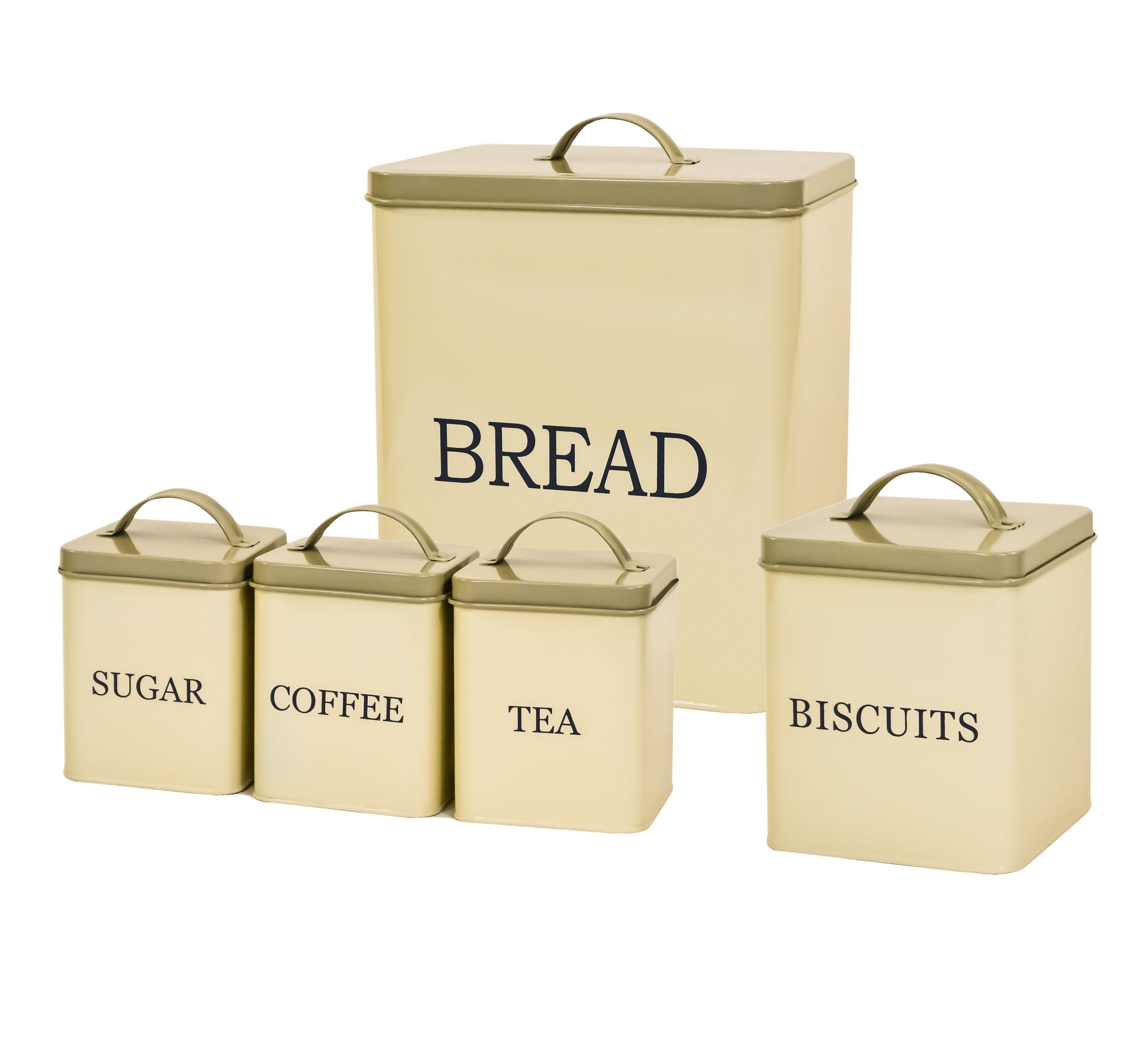 Cream Enamel Bread Bin Box U0026 Tea Coffee Sugar Storage Canister Biscuit Tin  Set In Home, Furniture U0026 DIY, Cookware, Dining U0026 Bar, Food U0026 Kitchen Storage