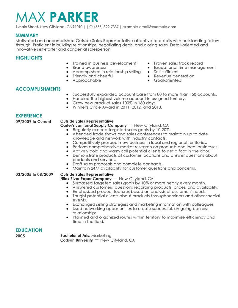 Resume Examples 2013 Best Outside Sales Representative Resume Example Livecareer Choose .