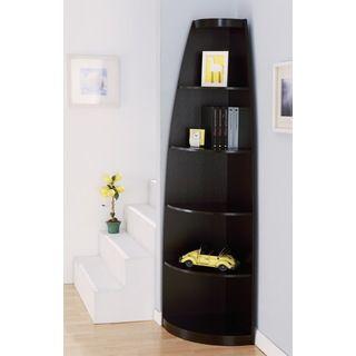 Contemporary Corner Shelf furniture of america skyler modern cappuccino 5-shelf corner