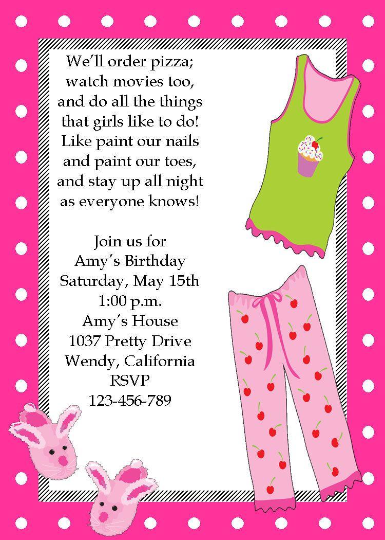 Girls Sleep Over Sleepover Printable Birthday Invitation | Hair ...