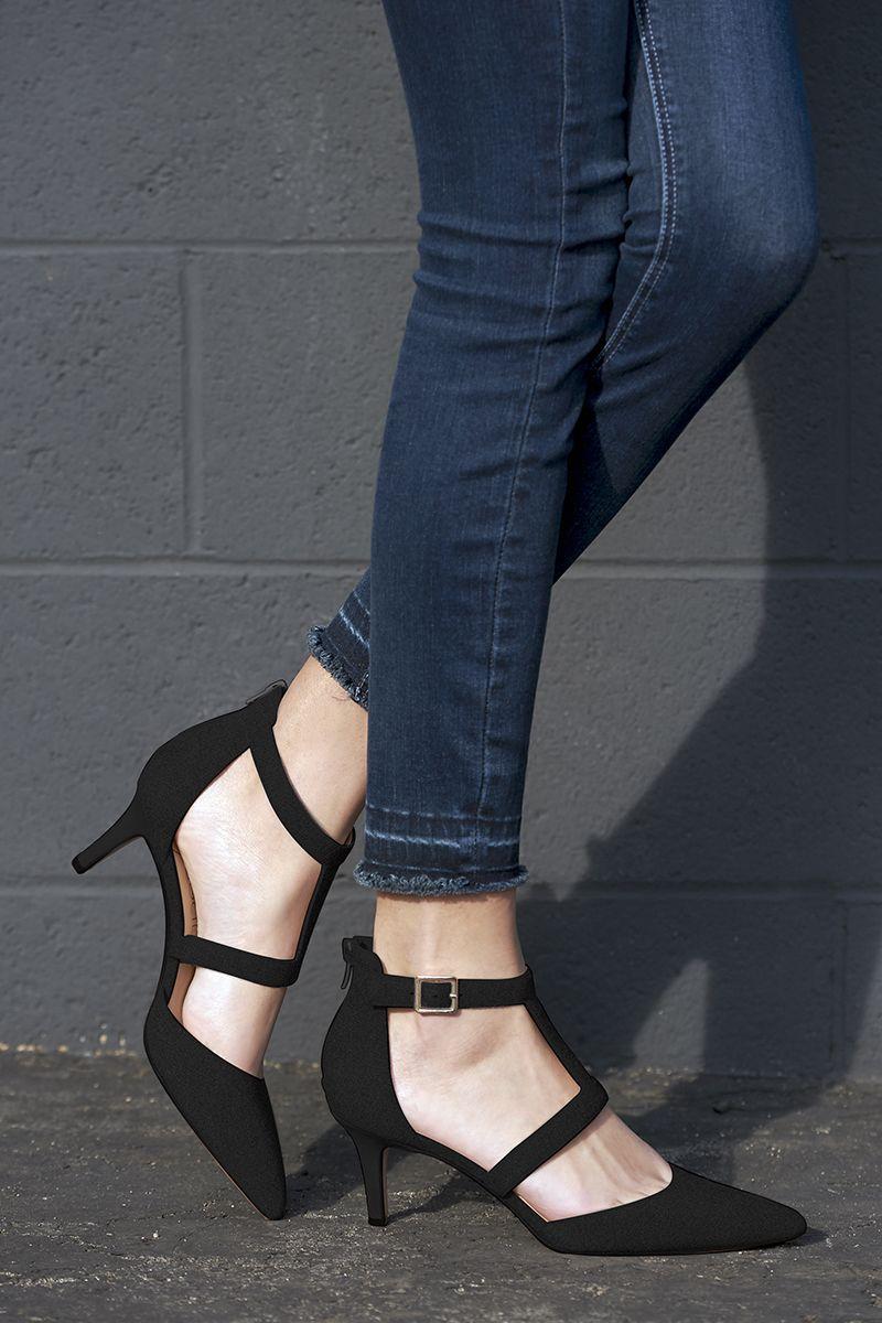 84b54276561 Black suede mid heel pump