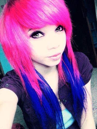 scene hair hot pink and dark blue