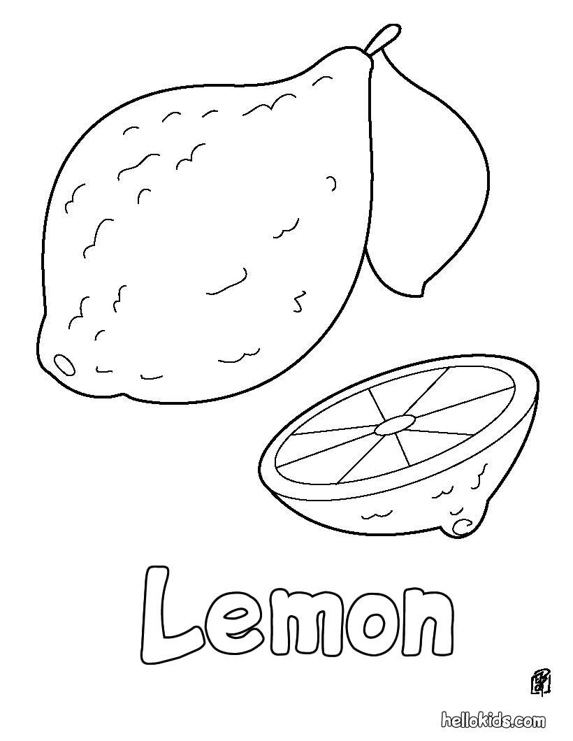 Lemon coloring page in fruit coloring pages perfect coloring sheets for kids more fruits coloring pages on hellokids com