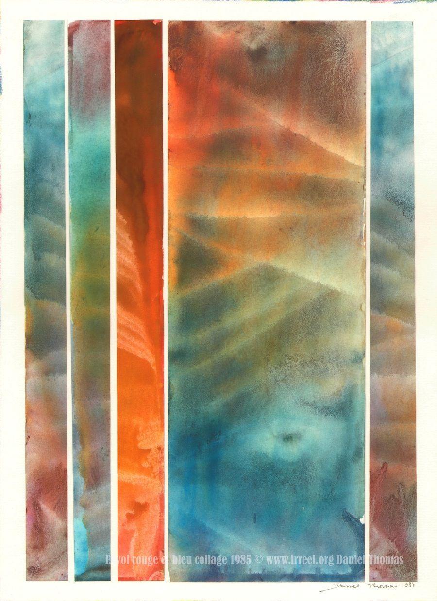 Collage Envol Rouge Et Bleu