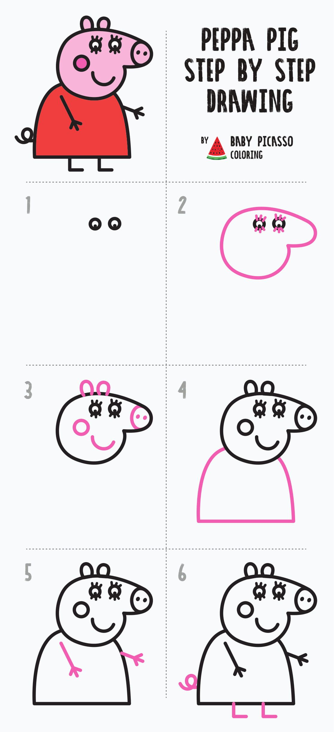 Peppa Pig Family Drawing And Coloring Pages For Kids And Toddlers Youtube Family Drawing Cute Easy Doodles Easy Drawings For Kids