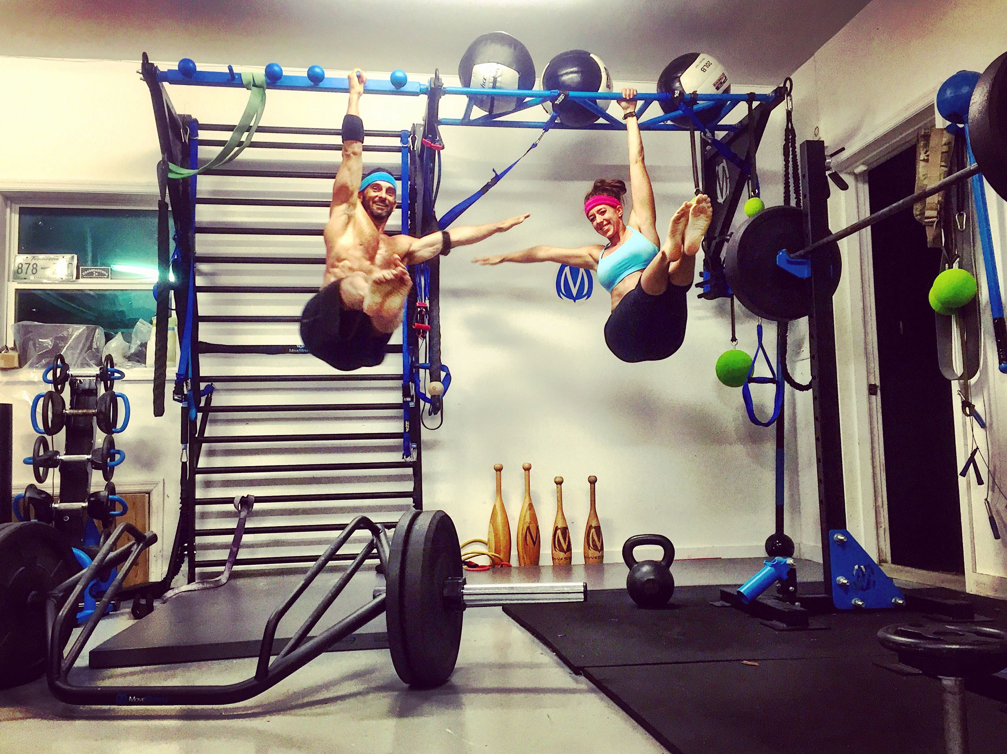 MoveStrong home gym garage set up with pullup, monkey bars, and ...