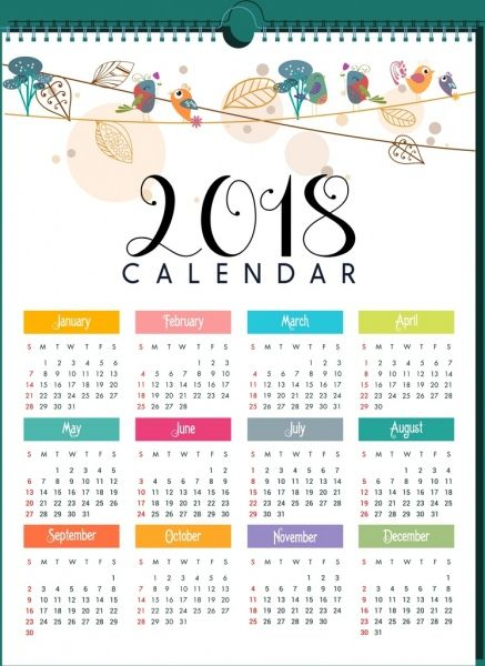 2018 calendar template natural bird leaves decor free vector in adobe illustrator ai ai format encapsulated postscript eps eps format format for