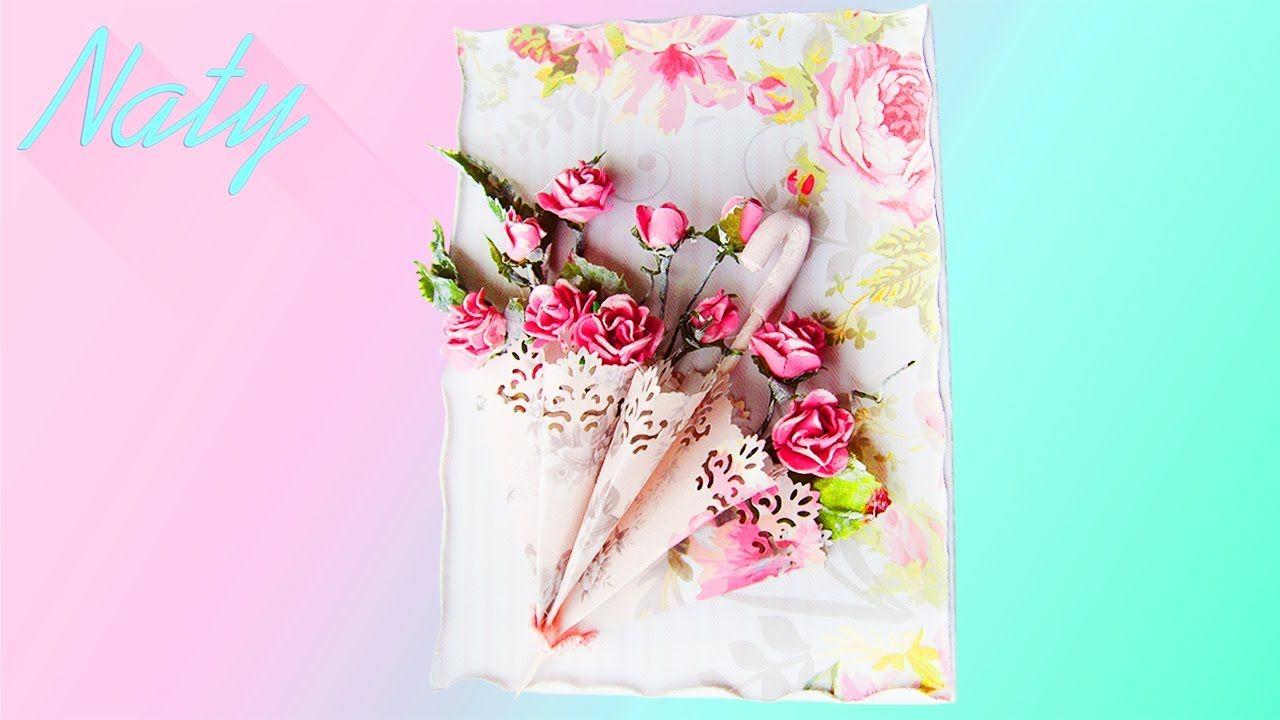 Открытками, открытка зонт с цветами