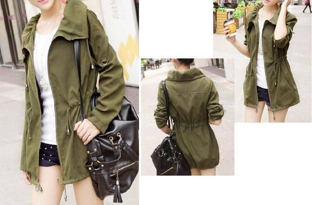 Casaca Moda Delgada Manga Larga Color Verde Militar Fashion Jackets Military Jacket