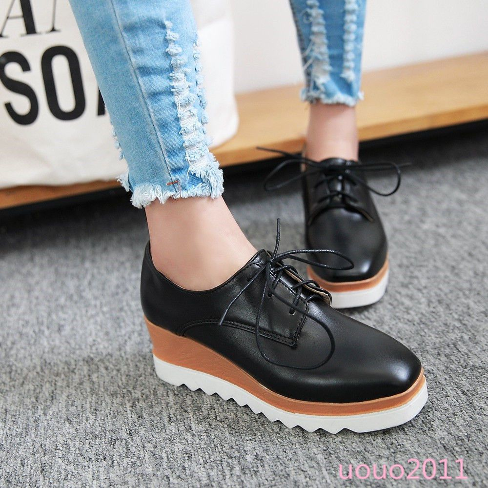 e60344c4c79 Punk Womens 6 Cm Wedge Heel Platform Lace Up Shoes Creeper Casual Shoes  Plus Sz