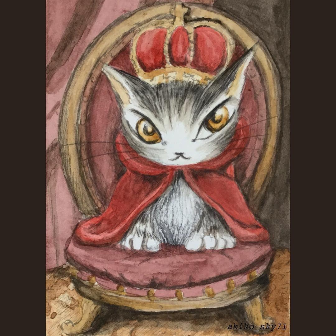 猫のダヤンと仲間たち 透明水彩です 筆は早く仕上がるけど 緊張し