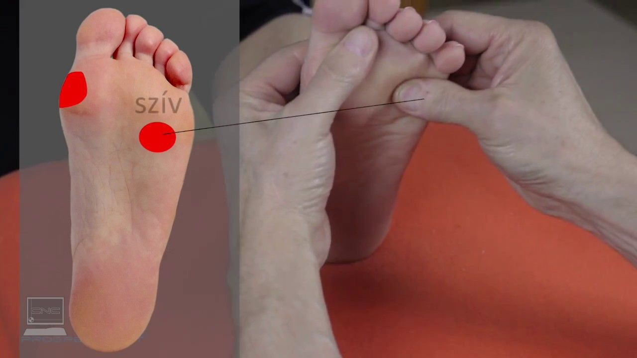 Vérnyomás csökkentés zónáinak masszírozása a bal lábon