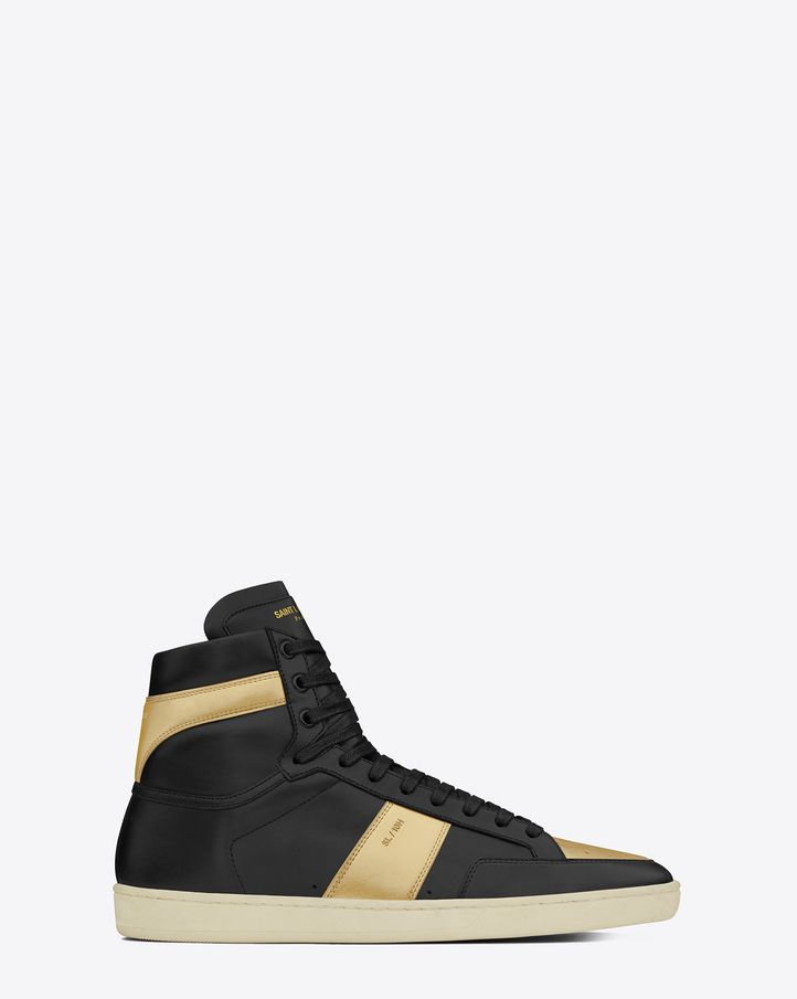 b689c7fff65 saintlaurent, Signature court classic SL/10H HIGH TOP SNEAKER IN BLACK  LEATHER and Gold Metallic Leather $645