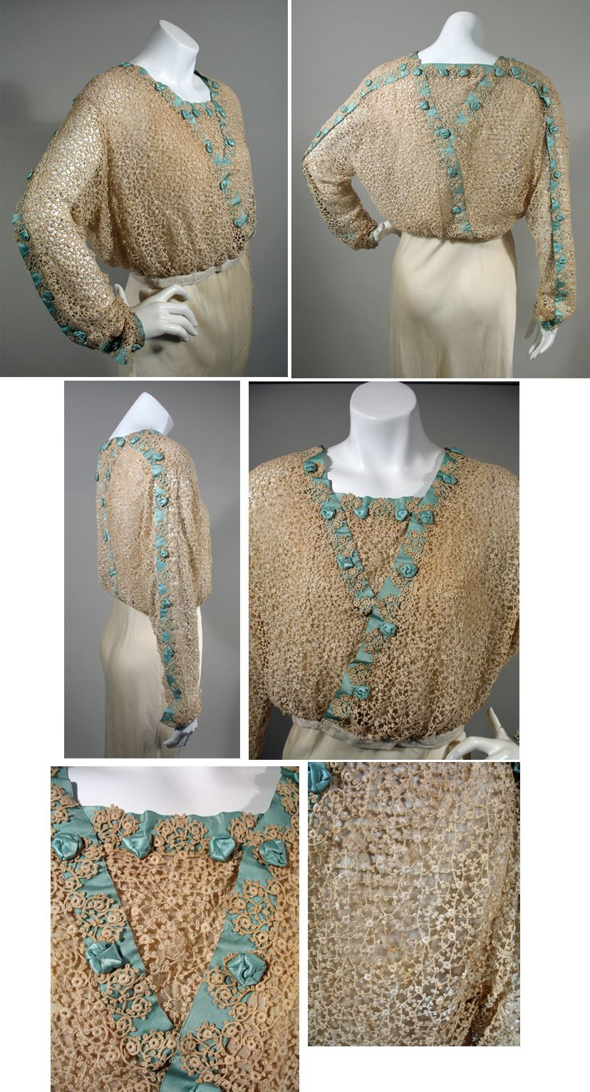 """1917-1919 Lace Blouse with Celadon Green Silk Ribbon """"Machine made lace  blouse with the soft green silk ribbon trim woven through the lace."""