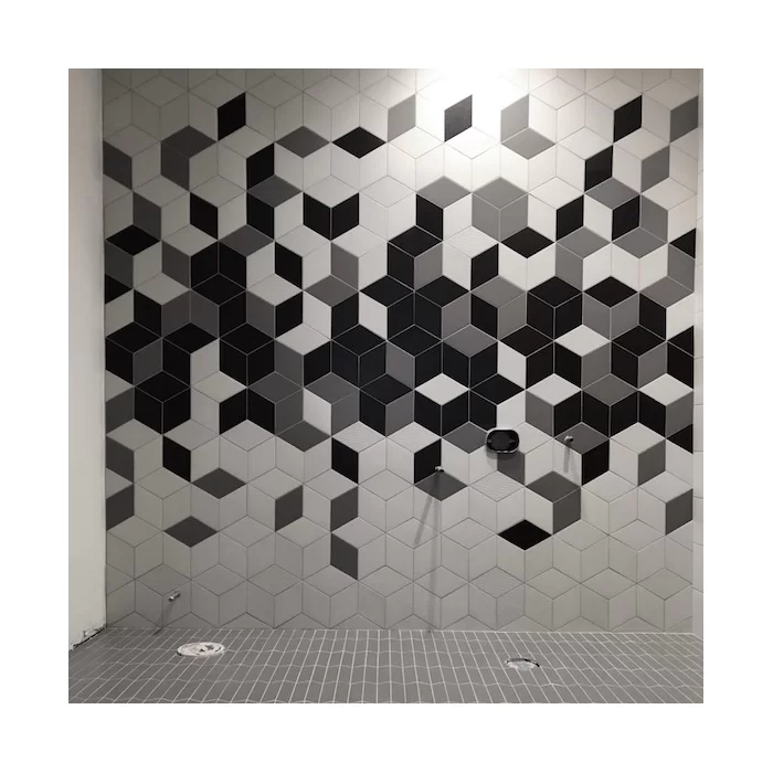 Ronbo 6 X 10 Porcelain Patterned Floor Use Tile In 2020 Geometric Wall Stencil Wall Design Tile Patterns