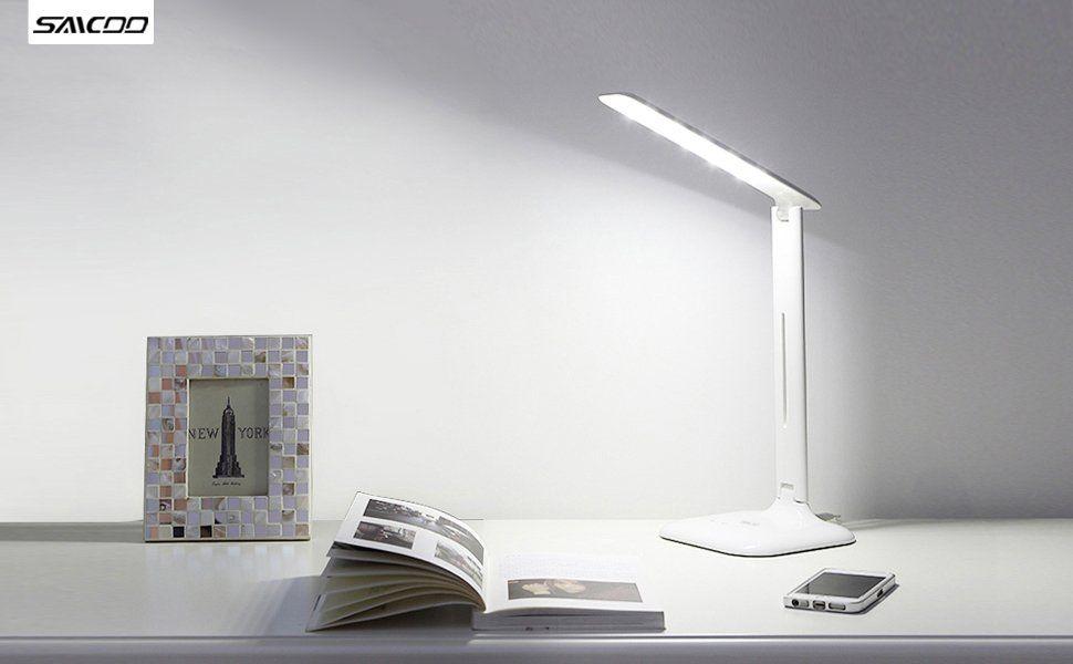 Saicoo LED Desk Lamp with 3 Lighting Modes, 5-Level Adjustable Brightness, Dual-Port USB Power Adapter Included