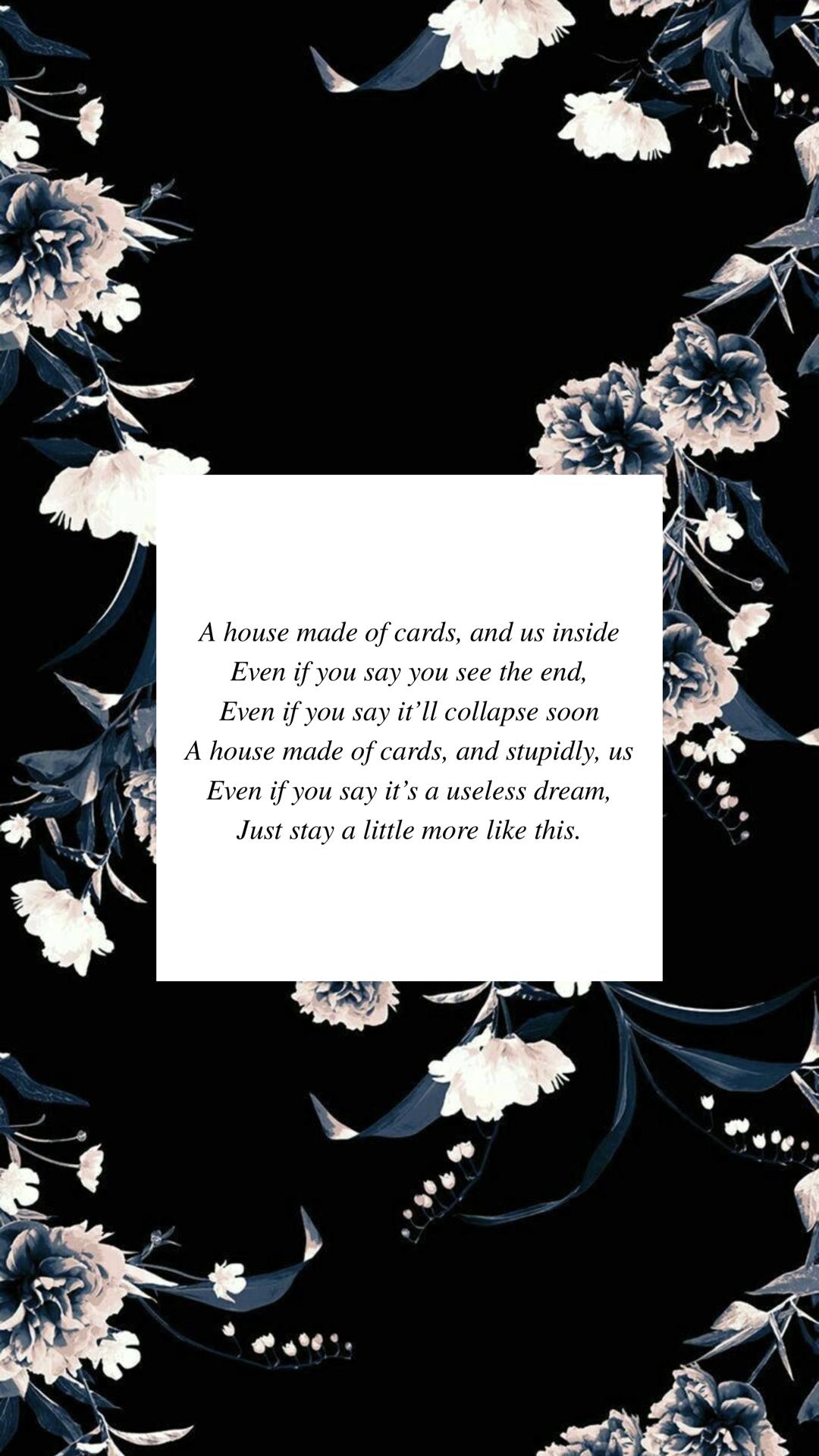 Bts House Of Cards Lyrics Wallpaper Floral Bts Houseofcards