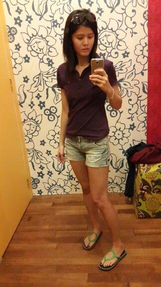 6c9757441f Polo shirt - Tommy Hilfiger | Short jeans - Elle | Sandals - Sanuk |  Bracelet - Silver shop @ Bali | Occasion - Shopping day