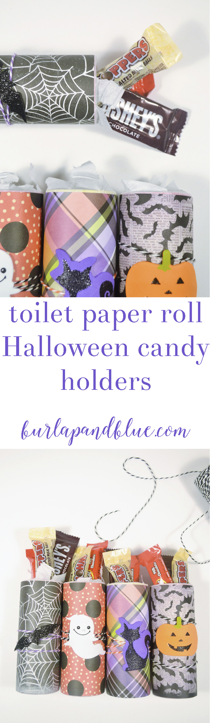 These toilet paper roll Halloween candy holders are an adorable way to serve up treats! Using scrapbook paper, Fall embellishments, twine and Mod Podge, these come together quickly and are the perfect kids craft!