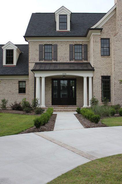 Dark Wooden Outdoor Shutters Brick Home With Black Door Higher Contrast At The Door Entry Exterior Brick Brown Brick Exterior Brick Exterior House