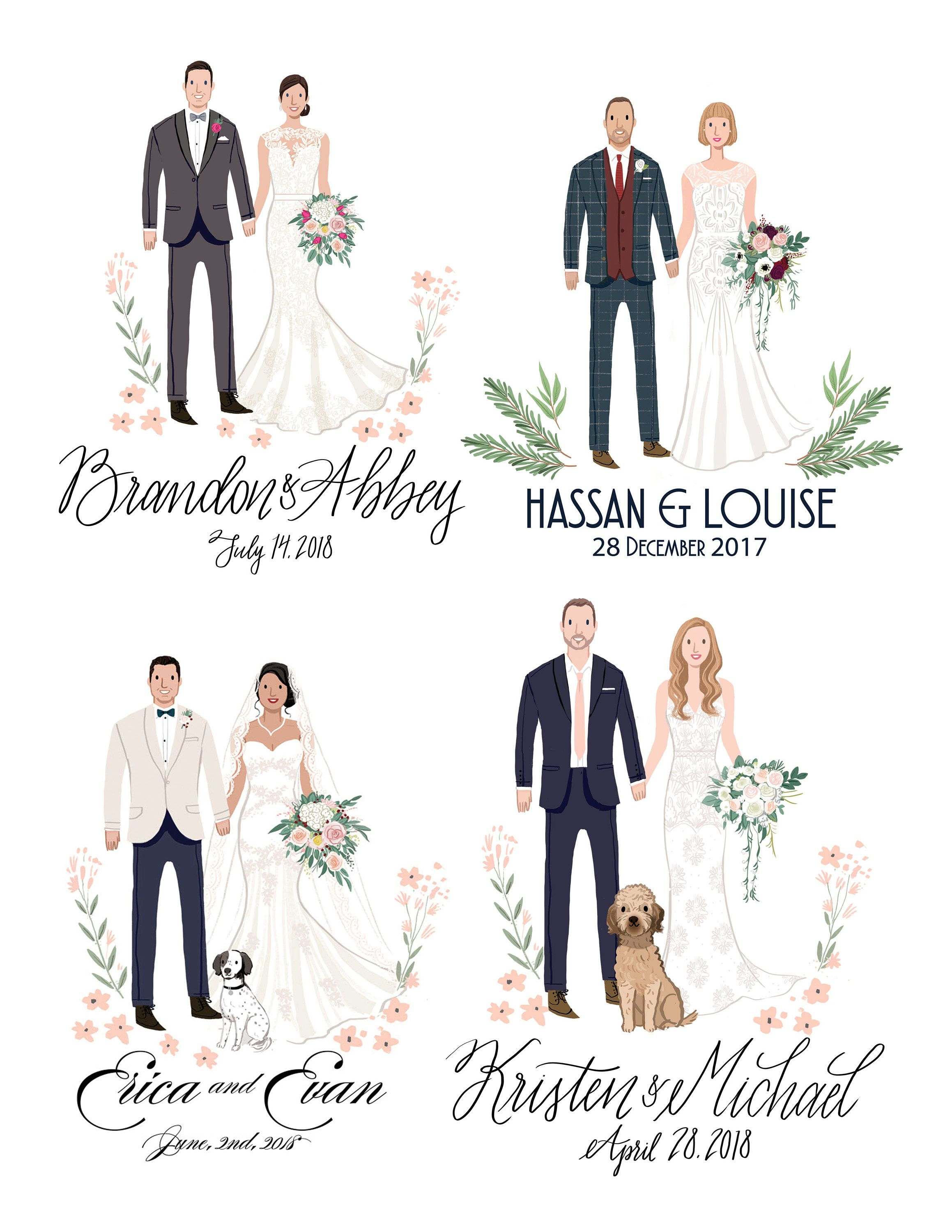 Custom illustrated wedding guest book guest book