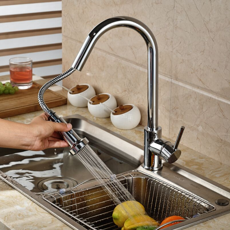 Chrome Brass Deck Mount Pull Out Kitchen Faucet Kitchen Sink Mixer Tap  Swivel Rotate W/