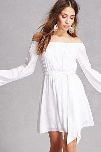76438f9315 Off-the-Shoulder Mini Dress   Products   Dresses, Long kimono, White ...