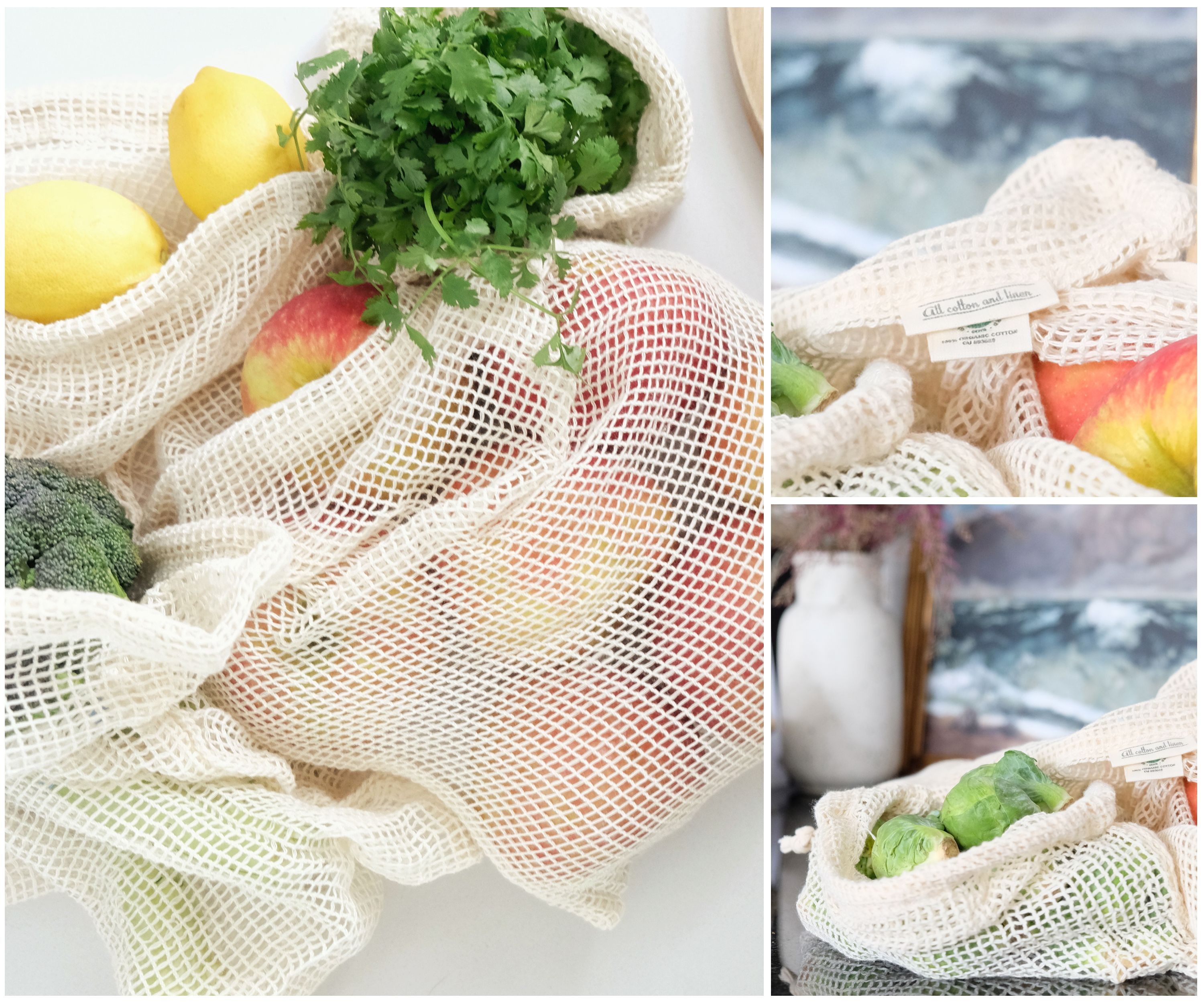 Mesh Cotton Bags Reusable Produce Bags Produce Bags Sustainable Gifts