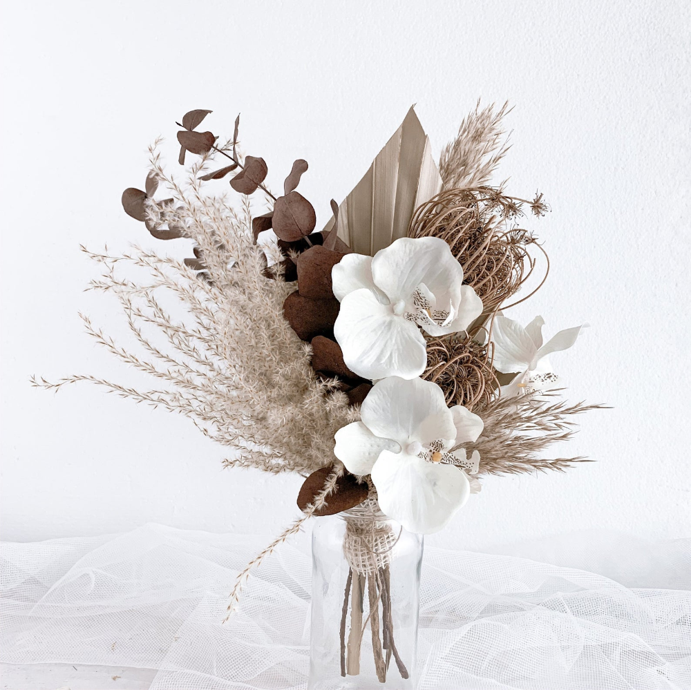 White Boutonniere Dried Flowers Preserved Flowers Boho Wedding Boutonniere
