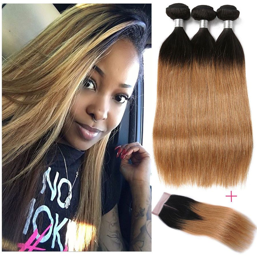 Hair Extensions & Wigs Useful Ombre Bundles With Frontal Honey Peruvian Blonde Bundles With Closure 13*4 Remy Straight Hair Bundles With Frontal Free Shipping Cheap Sales Human Hair Weaves