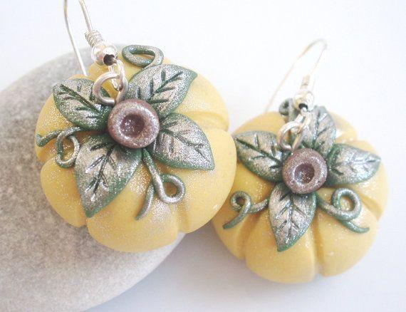 Pumpkin Earrings  Pale Yellow  Halloween / by Lylaaccessories, $12.00