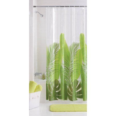 Buy Mainstays Tropical Leaf Vinyl Shower Curtain At Walmart