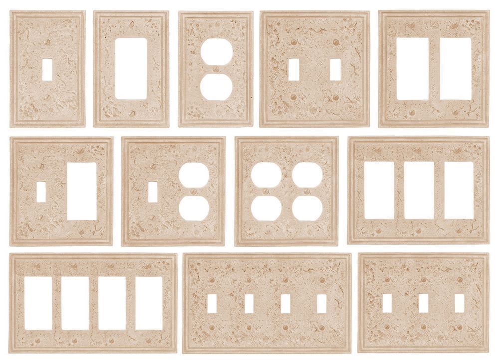 Travertine Faux Textured Stone Resin Switchplate Wall Plate Duplex ...