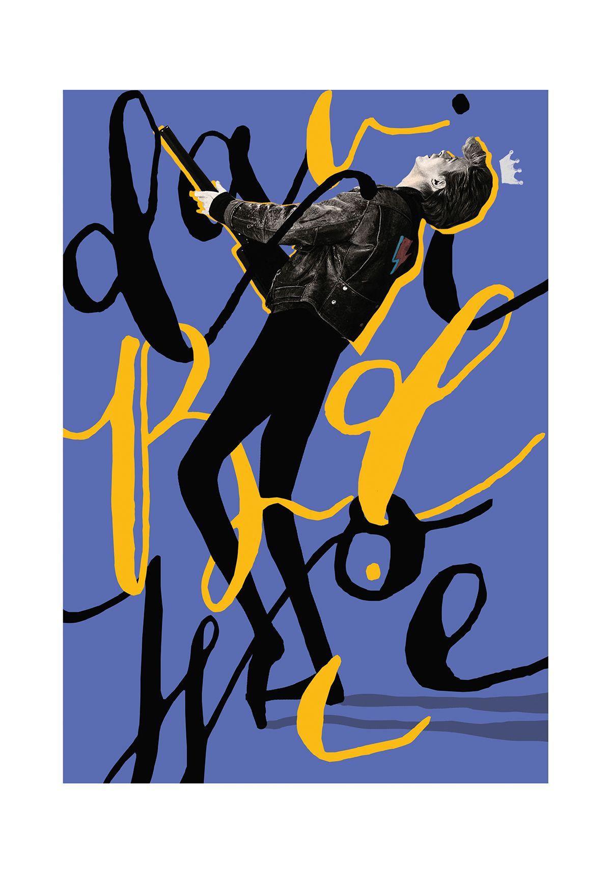 david bowie's poster with handwritten typography by Selman Hoşgör
