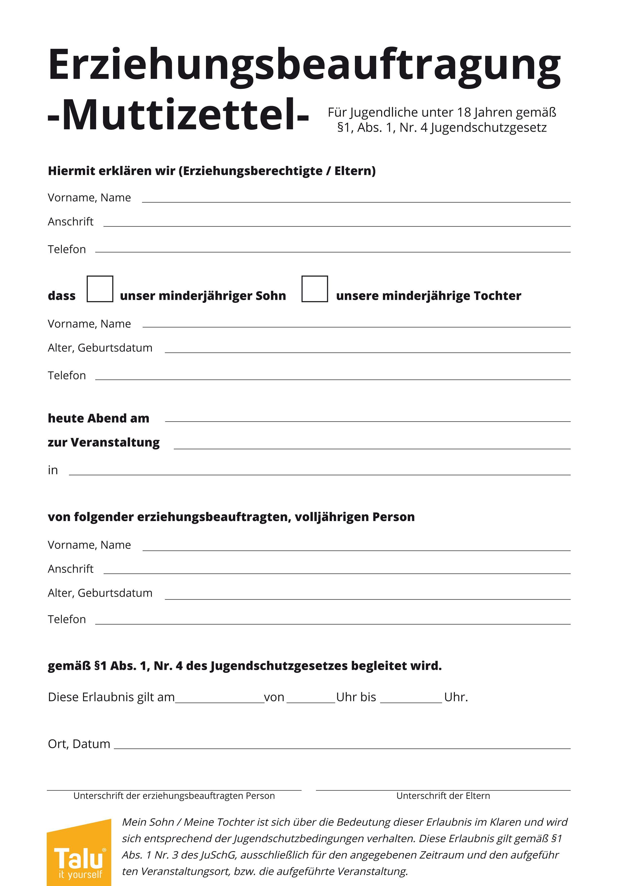 Muttizettel-Vorlage zum Ausdrucken - PDF-Vordruck ...
